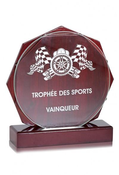 Trophée Verre & Bois Laserable 166-31
